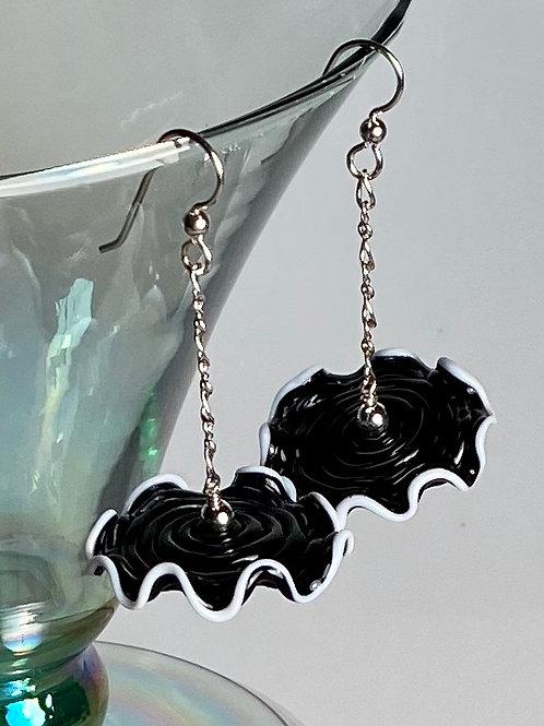 E002 Ruffle Bead Earrings Black w/White Trim