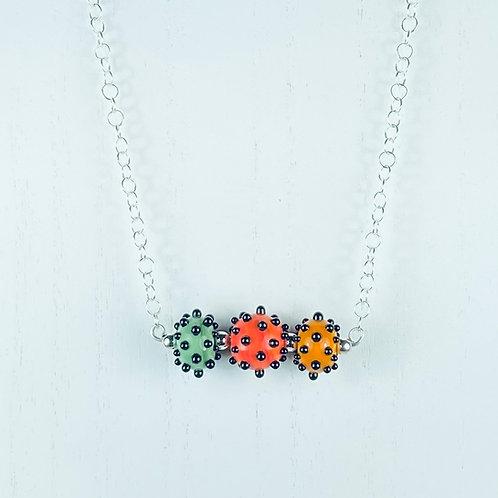 N067 Bar Necklace Opaque Round Beads w/Dots Green/Orange/Tangerine