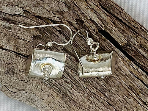 E222 Bali Bead Sterling Silver Sparkling Earrings - E222
