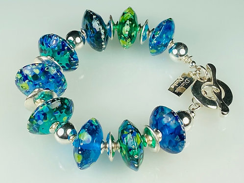 B001 Transparent Blue/GreenChunky Saucer Beads w/Frit Melted In