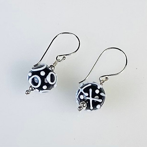 E172 Dots & Swirls Earrings Opaque Round Beads Black w/White X's & O's & Dots