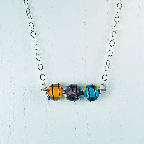 N050 Bar Necklace Opaque Cores Multicolor Transparent Encased w/String Trim