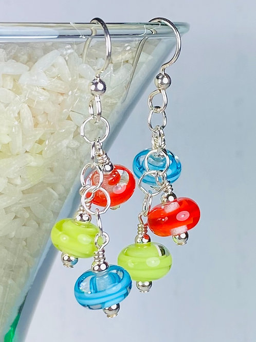 E154 Six Baby Bead Earrings Filigrana Beads Red/Lime/Blue