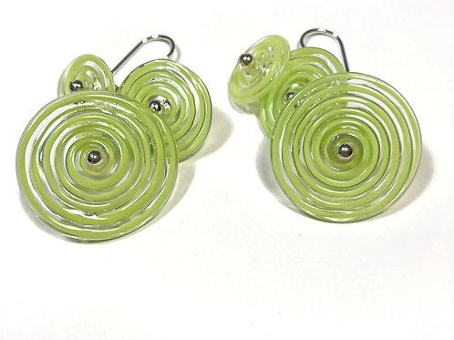E049 Flying Saucer 6 Disc Bead Earrings Filigrana Lime