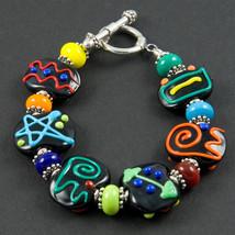 B503 Black Opaque Flat Bead Scribble Bracelet