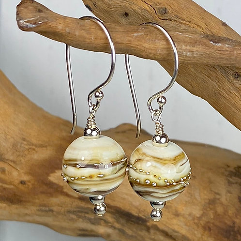 E015 This & That Bead Earrings - Ivory and Topaz Round Beads w/Silver Glass Trim