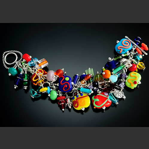 B012 Cha-Cha Bracelet Flat Opaque Beads w/Multicolor Opaque Scribbles