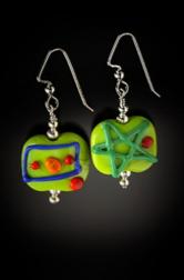 E002 Opaque Flat Bead Scribbles Earrings
