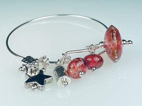B058 A & A Bracelet Transparent Chunky Saucer Bead w/Frit Trim Red