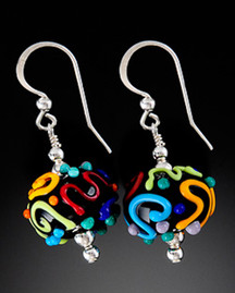 E007 Black with Multi-Color Squiggles Earrings