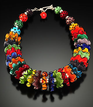 N017 Multi-Color Opaque Ruffle Necklace.