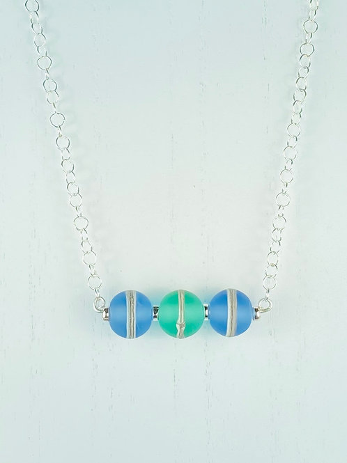 N069 Bar Necklace Etched Transparent Round Beads w/Silver Glass Blue/Turquoise