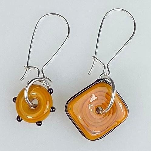 E065 Wheelie Bead Earrings Burnt Orange Beads Square & Circle w/Black Trim