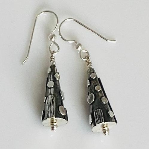 E206 Bali Bead Sterling Silver Sparkling Earrings - E206
