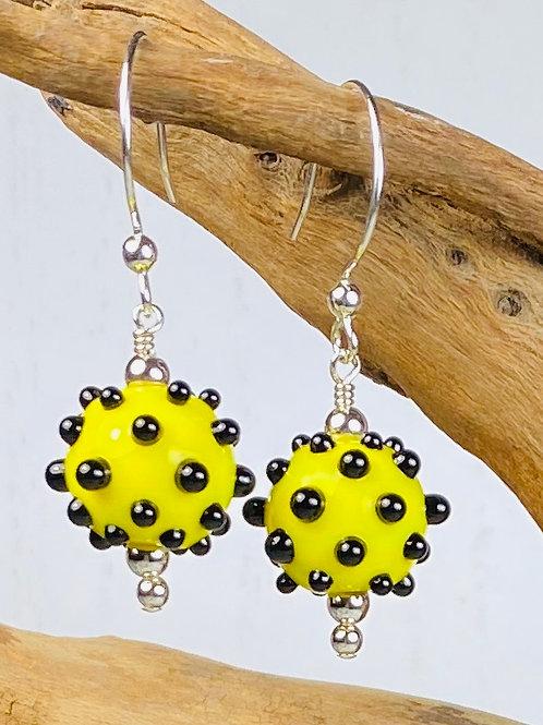 E166 Dots & Swirls Earrings Opaque Round Beads Yellow w/Black Dots
