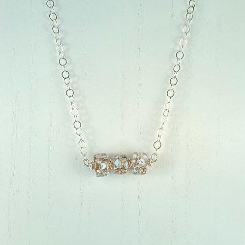 N068 Bar Necklace Golden Barrel Beads w/Iridescent Frit