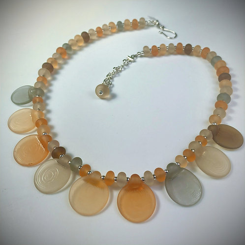 N177 Paddle Bead Necklace Transparent Earth Tones