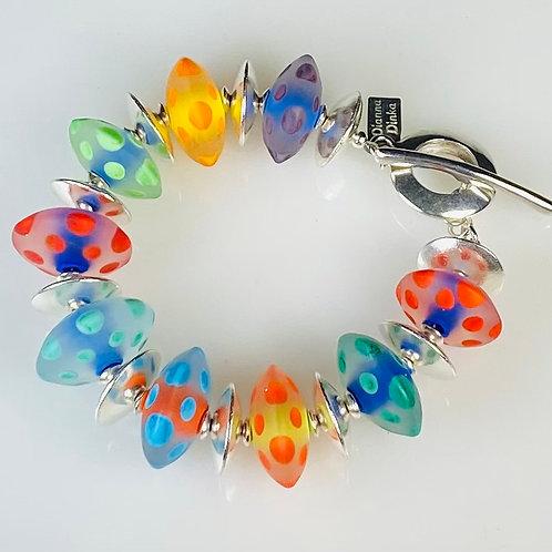 B003 Etched Transparent Chunky Saucer Bracelet Multicolor Big Dot Trim