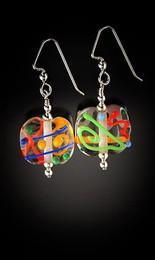 E012 Clear Flat Bead Multi-Color Scribbles Earrings