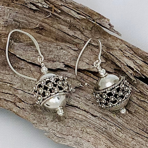 E227 Bali Bead Sterling Silver Sparkling Earrings - E227