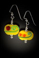 E020 Opaque Flat Bead Multi-Color Scribbles Earrings