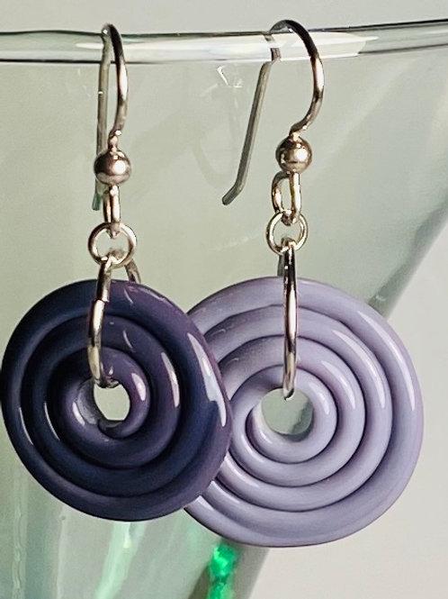 E069 Wheelie Bead Earrings Dark Purple & Purple Beads