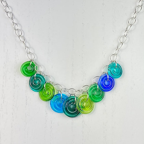 N123 Nine Bead Necklace Transparent Blue/Green/Turquoise