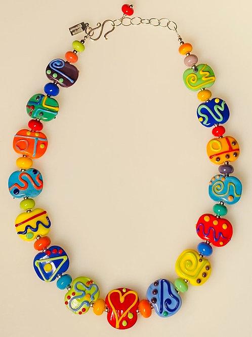N010 Multicolor Opaque Scribble Bead Necklace