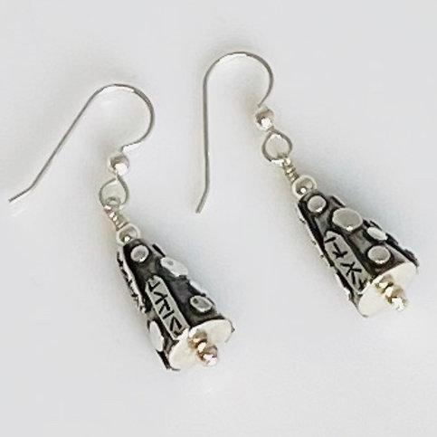 E204 Bali Bead Sterling Silver Sparkling Earrings - E204