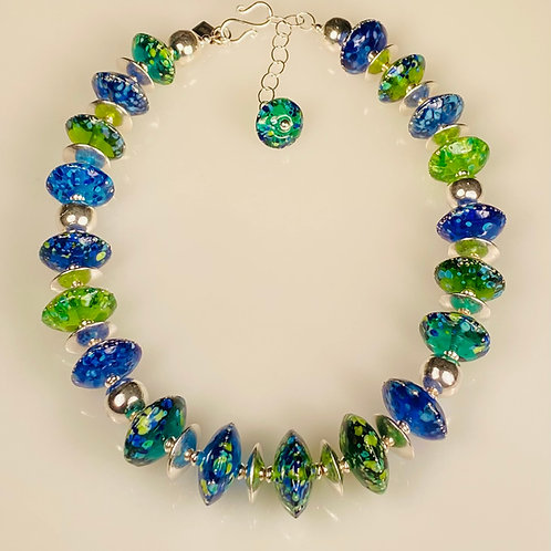 N090 Transparent BlueGreen Chunky Saucer Necklace w/Frit