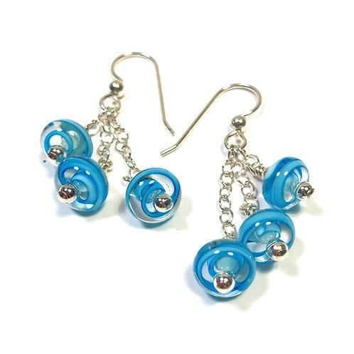 E159 Six Baby Bead Earrings Filigrana Turquoise