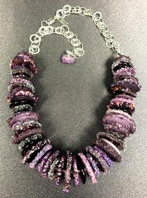 BLN130 3/4 Purple Frit Disc Necklace