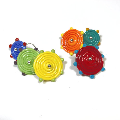 E041 Flying Saucer 6 Disc Bead Earrings Opaque Yellow/Lime/Red+ Dot Trim