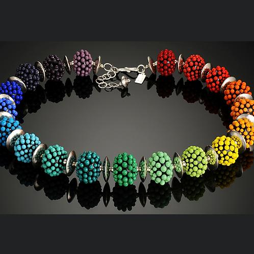 N036 Opaque Black Bead Necklace w/Rainbow Dots Trim