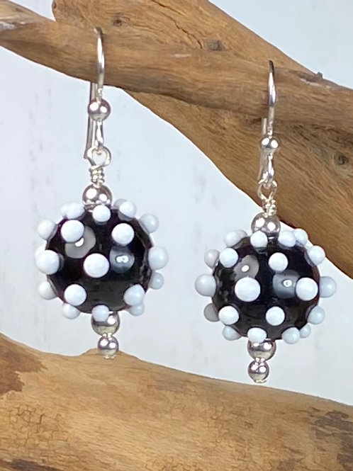 E167 Dots & Swirls Earrings Opaque Round Beads Black w/White Dots