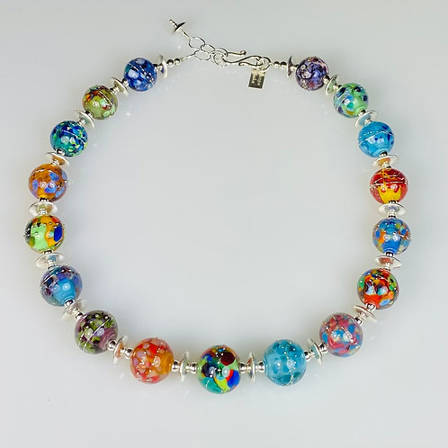 N110 Multicolor Opaque Core Beads Encased in Clear w/FritTrim Necklace