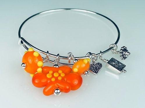 B062 A & A Bracelet Opaque Tangerine Flower w/Orange & Yellow Trim