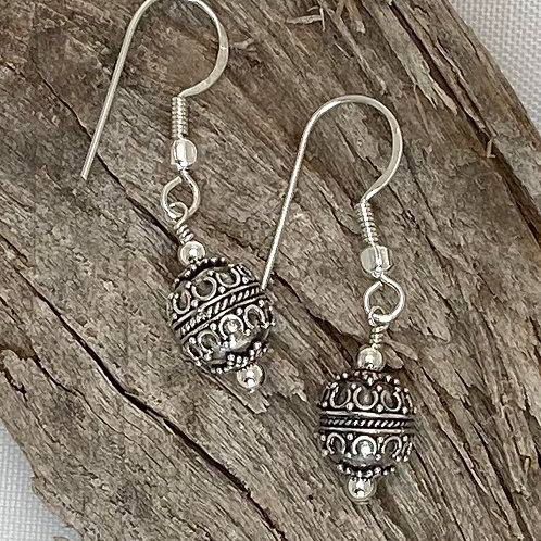 E214 Bali Bead Sterling Silver Sparkling Earrings - E214