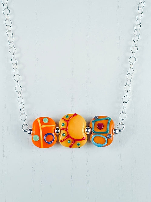 N078 Bar Necklace Opaque Flat Beads w/Scribbles  Orange Hues