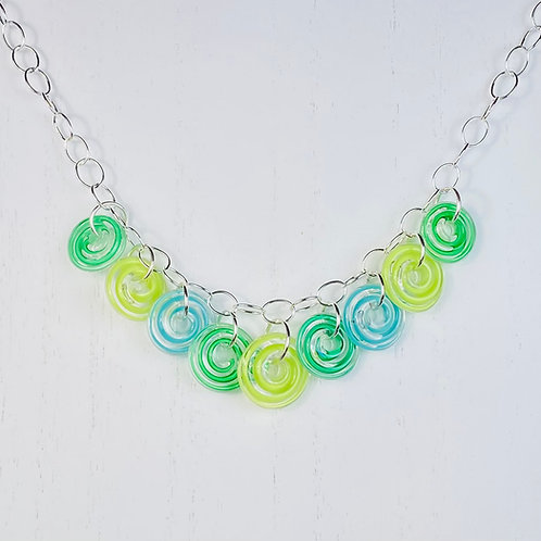 N121 Nine Bead Necklace Filigrana Lime/Green/Turquoise
