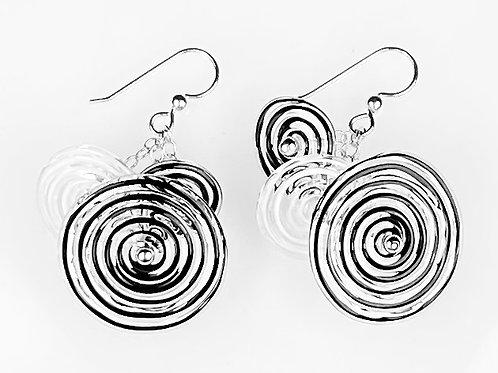 E055 Flying Saucer Earrings 6 Filigrana Disc Beads Black/White/Black