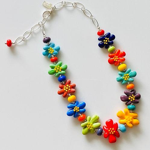N100 Multicolor Opaque 11 Bead Flower Necklace