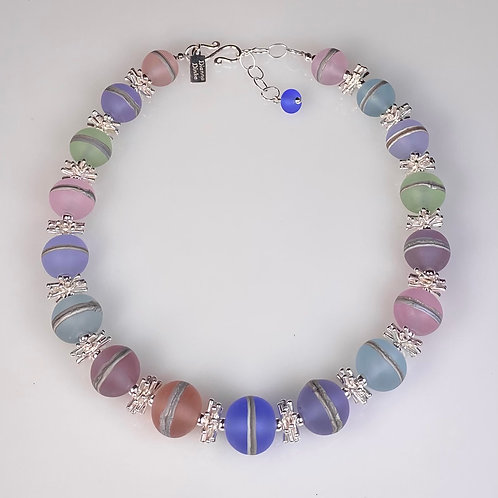 N044 Etched Transparent Pastel Round Bead Necklace