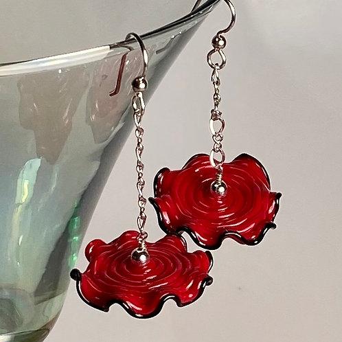 E008 Ruffle Bead Earrings Deep Red Beads w/Black Trim