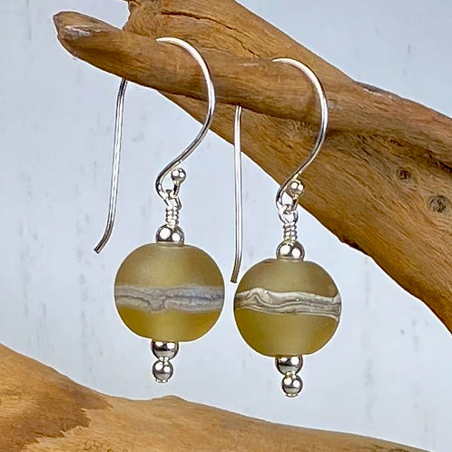 E096 Etched Round Bead Earrings w/Silvered Ivory Trim - Bronze