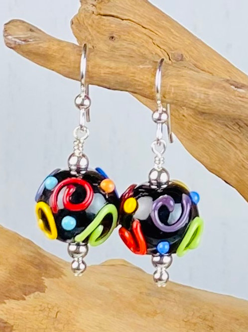 E171 Dots & Swirls Earrings Opaque Round Beads Black w/Colorful Scribbles