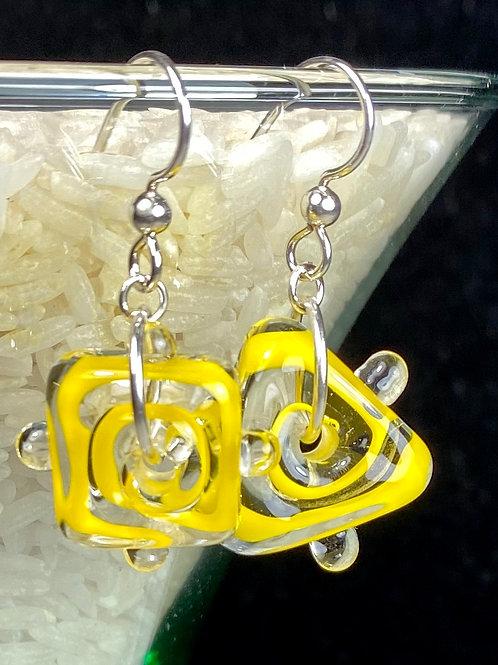 E076 Funky Filigrana Earrings w/Dot Trim Square & Triangle Beads Yellow