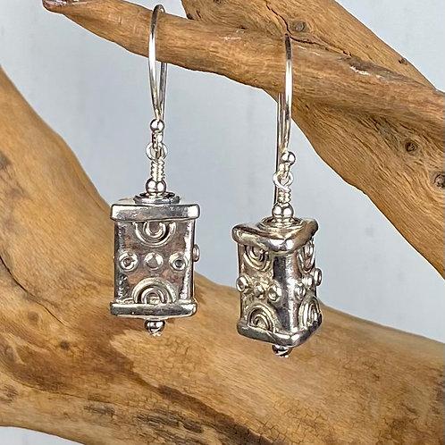 E245 Bali Bead Sterling Silver Sparkling Earrings - E245