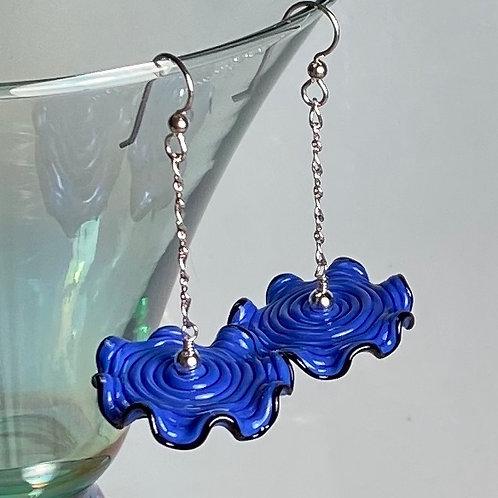 E003 Ruffle Bead Earrings Blue w/Black Trim