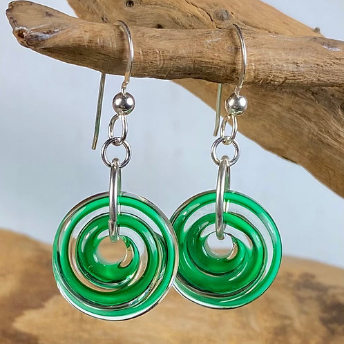 E134  Filigrana Disc Bead Earrings - Green